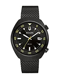 Bulova Accutron II Men's UHF Watch with Black Dial Analogue Display and Black Stainless Steel Bracelet - 98B247