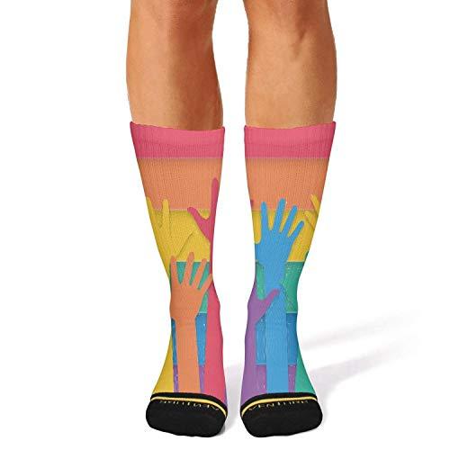 Milr Gile Unisex Gay Hands raising Crew Tube Socks Crazy Novelty Socks High Athletic Socks