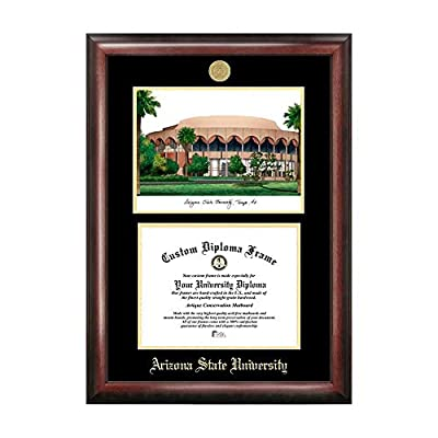 Campus Images Sports Team Logo Design Arizona State University Gold Embossed Diploma Frame with Campus Images Lithograph