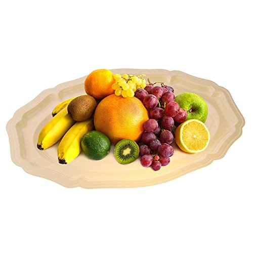 Party Bargains Plastic Oval Trays | Durable Hard Plastic Elegant Ivory Food Serving Tray Ideal for Catering, Food Service & Appetizers - 17