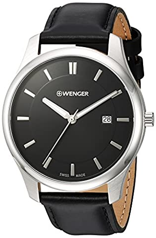 Wenger Men's 'City Classic' Swiss Quartz Stainless Steel and Leather Casual Watch, Color:Black (Model: (Swiss Mens Classic)