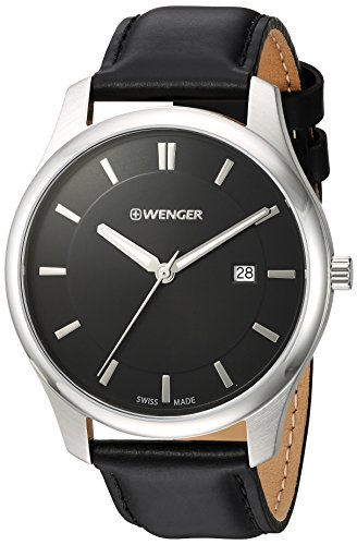 Wenger-Mens-City-Classic-Swiss-Quartz-Stainless-Steel-and-Leather-Casual-Watch-ColorBlack-Model-011441101