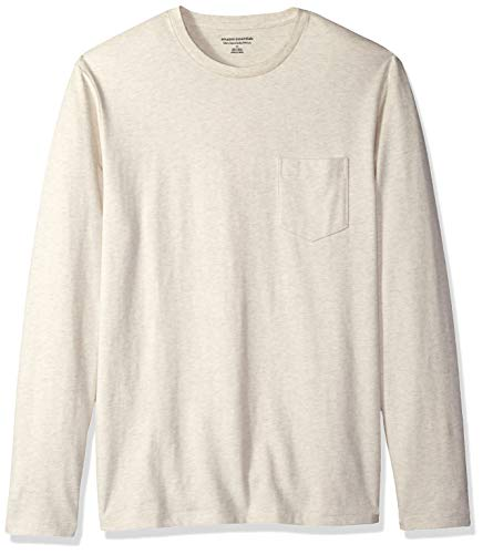 - Amazon Essentials Men's Slim-Fit Long-Sleeve Pocket T-Shirt, Oatmeal Heather, Large