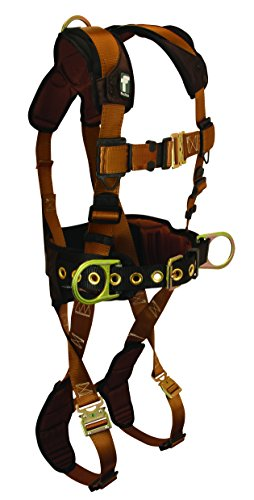 (FallTech 7083LX ComforTech Belted Construction Full Body Harness with 3 D-Rings, Waist Pad, Quick Connect Legs and Chest, Brown/Black, Large/X-Large )