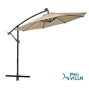 PHI VILLA 10ft Offset Hanging Umbrella with 48 PCS LED Lights Solar Powered Patio Umbrella with Crossbase, 8 Ribs, Beige