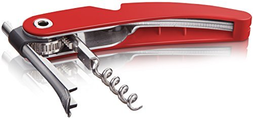 Vacu Vin Single Pull Corkscrew with Foil Cutter and Bottle Opener - Red by Vacu Vin