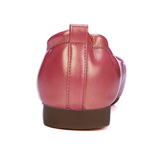 VogueZone009 Damen PU Leder Eingelegt Ziehen auf Rund Zehe Niedriger Absatz Flache Schuhe Orange