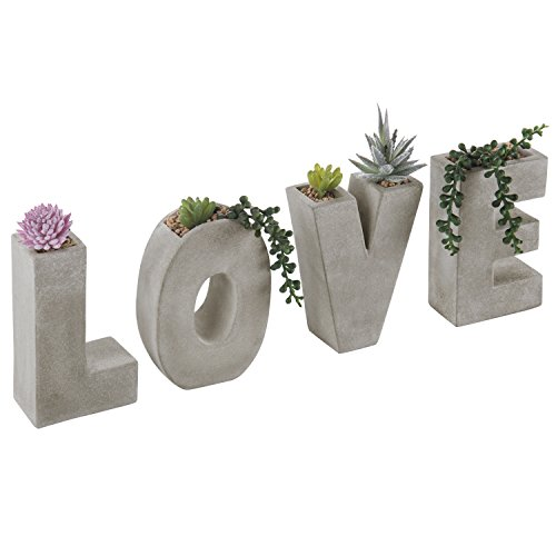 MyGift 5-Inch Love Block Letter-Shaped Clay Succulent Planter Holder Set, Gray