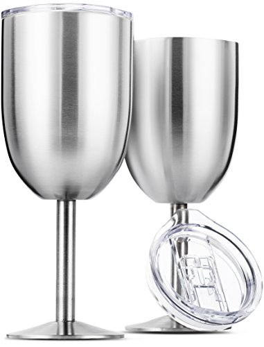 Stainless Steel Wine Glasses, Double Wall Insulated with Lids - Set of 2, Metal Wine Glass for Outdoor Travel, Camping, Red White Wine Goblet, 14oz, Unbreakable, Shatterproof, Portable, BPA (Signature White Wine)