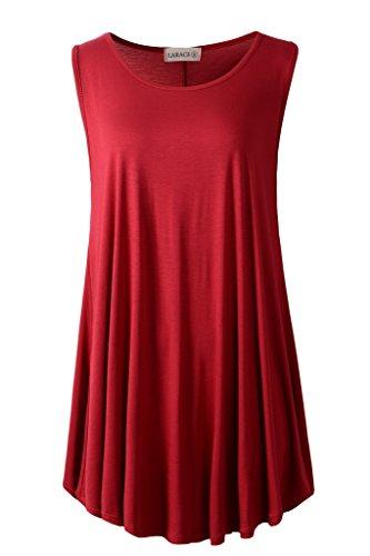 (LARACE Women Solid Sleeveless Tunic for Leggings Swing Flare Tank Tops (M, Wine Red))