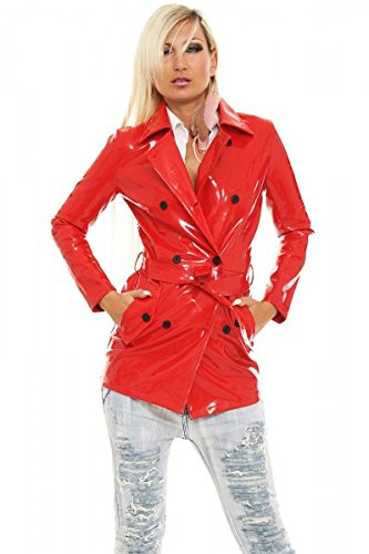Femme Trench Fashionworld trade Uni Noir Manteau Rouge Fwt 1Szqg