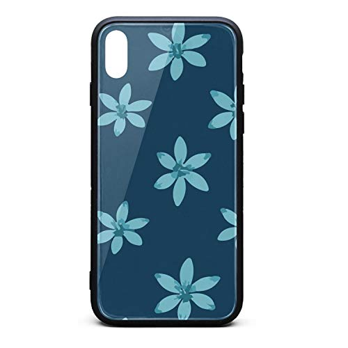 Phonerebey iPhone X/Xs Case,Beautiful Blue Flower Anti-Scratch Shockproof Slim Cover Case Compatible with Apple iPhone X/Xs Case,TPU and Tempered Glass