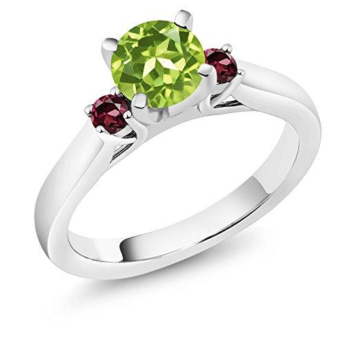 1.09 Ct Heart (1.09 Ct Green Peridot Red Rhodolite Garnet 925 Sterling Silver 3-Stone Ring)