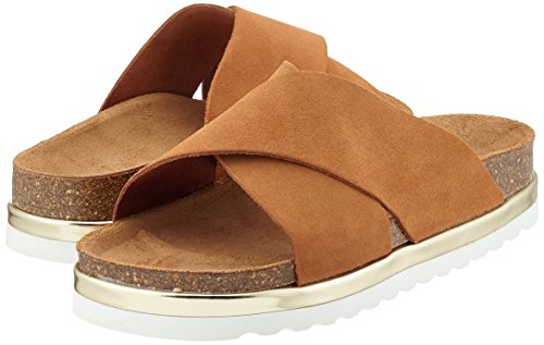 Vero Moda Vmlisa Leather Sandal, Sandalias Planas Mujer Marrón (Cognac)