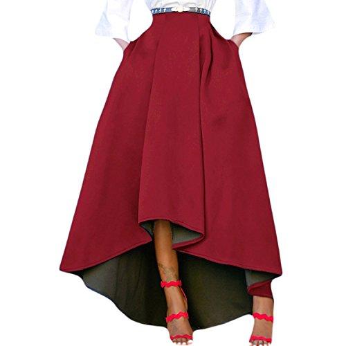 Femme Patineuse Taille Haute Vintage Jupe Longue Plisse Haut Bas Chic Rtro Robe de Soire Rouge