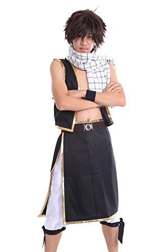[SDWKIT Fairy Tail Salamander Dragon Slayer Dragneel Natsu Outfit V1 Set] (Dragon Ball Costume With Tail)