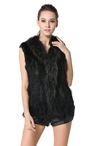 MEEFUR Rabbit Fur Vests with Raccoon Fur Collar Women's Winter Autumn Gilets Real Fur Knitted Waistcoat (Black, US10)