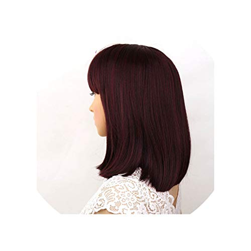 Straight Black Synthetic Wigs With Bangs For Women Medium Length Hair Bob Wig Heat Resistant Bobo Hairstyle Cosplay Wigs,#99J,14Inches]()