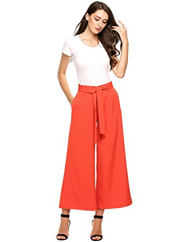 Nessere Women's Striped High Waisted Lounge Wide Leg Comfy Vintage Palazzo Pants (Pants Striped Cropped)