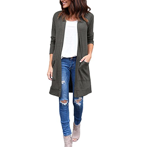 PARTY LADY Womens Casual Sleeve Open Front Long Cardigan Sweater Outwear Size 2XL Dark Grey