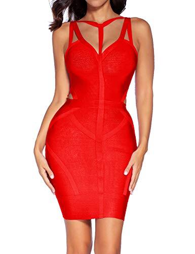 Bandage houstil Women's Evening Red2 Neck Rayon Spaghetti Party Sleeveless Club Strap Dress V nnzZfr