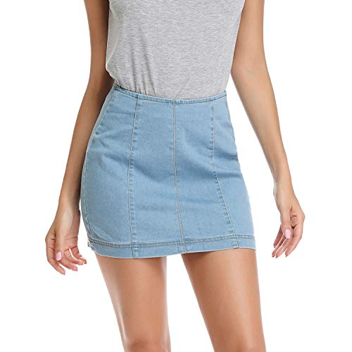 Mia Pristine Women's Bodycon High Waisted A-line Zip-Back Jean Skirt Stretchy Sexy Denim Skirt, Blue 6/8