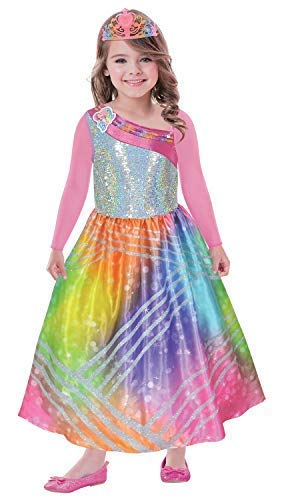 Girls Official Barbie Rainbow Magic Princess Dress & Tiara TV Book Film World Book Day Week Fancy Dress Costume Outfit 3-10 Years (8-10 Years)