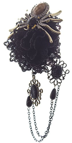 Linda Ann's Black Flower With Spider, Hanging Chain, Hair Clip - Flower Shop Lindas