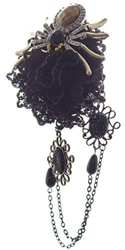 Linda Ann's Black Flower With Spider, Hanging Chain, Hair Clip - Lindas Flower Shop