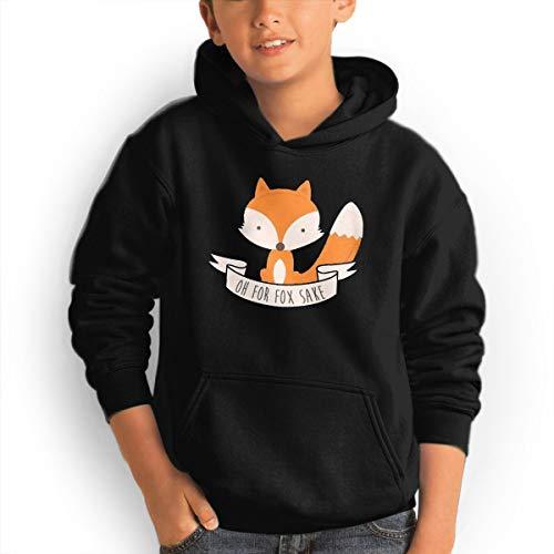 Youth Hooded Sweatshirt Retro Unique Sweatshirt Oh for Fox Sake Logo Black M