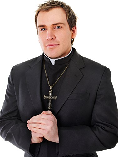 Mens Adults Fancy Dress Party Vicar Costume White Collar Reverend Priest -