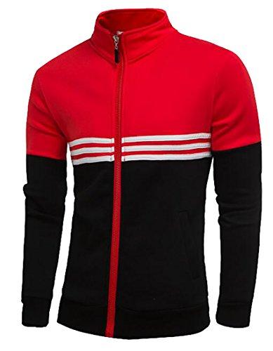 tescous Men New Stand-Up Collar Long-Sleeved Cotton Stitching Slim Fit Full Zip Jacket Red L (Michael Jordan Michael Jackson)