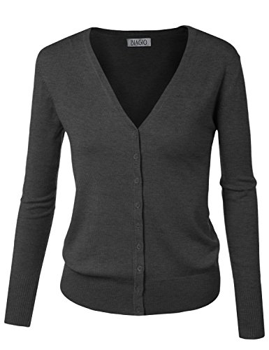 BIADANI Women Button Down Long Sleeve Soft V-Neck Cardigan Sweater Grey Medium