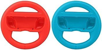 booEy 2x Lenkrad Wheel für Nintendo Switch Mario Kart rot und blau Joy Con