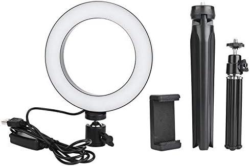 Fdit 16 cm LED-dimmbare LED-Video-Ringlicht-Kamera-Lampen-Kit mit Desktop-Stativen Handyhalter USB-Anschluss