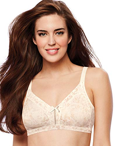 Bali Cool Comfort Double Support Wire-Free Bra, 40D, Ivory Tonal Floral