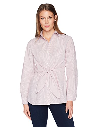 Lark & Ro Women's Woven Shirt with Knotted Waist