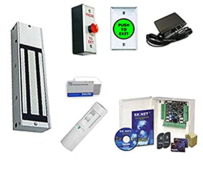 Gym Access Control Kit With 1200 lb. Magnetic Lock, Card Access System, 100 Card, Exit Devices & Power Supply