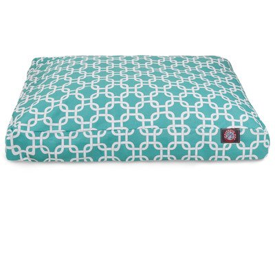 Teal Links Large Rectangle Indoor Outdoor Pet Dog Bed With Removable Washable Cover By Majestic Pet Products by Majestic Pet