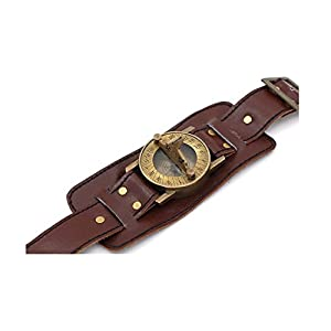 ROORKEE INSTRUMENTS (INDIA) A NAUTICAL REPRODUCTION HOUSE Stempunk Solid Brass Wrist Watch Sundial with Soft Leather Band