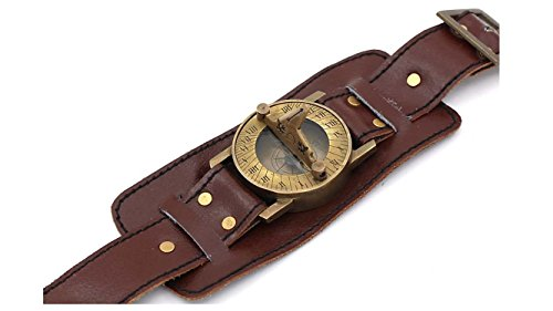 Stempunk Solid Brass Wrist Watch Sundial with Soft Leather Band