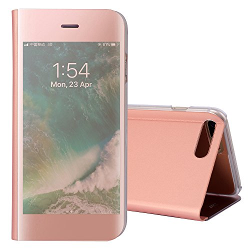 iphone 8 Case,iphone 7 Phone Case,Asuwish Mirror Flip Folio Phone Cases Clear View Window Electroplate Shockproof Self Stand Protective Cover for iphone7/iphone8 (4.7 inch) Rose gold