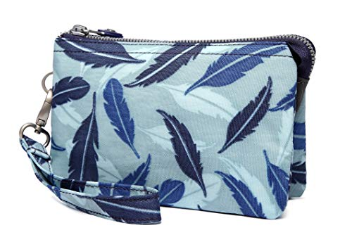 Crest Design Water Repellent Nylon Wristlet Clutch Wallet Cell Phone Pouch (Blue Feather)