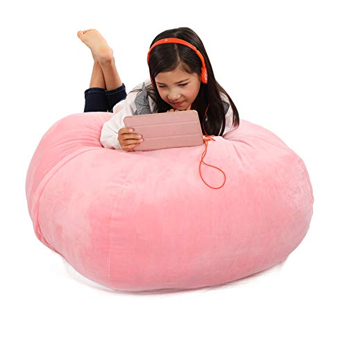 - Stuffed Animal Storage Bean Bag Cover, 37Inch Large Size Organization Velvet Extra Soft Stuffie Seat with 31Inch Double Head Zipper for Kids Toys Blankets, Towels & Clothes Household Supplies (Pink)