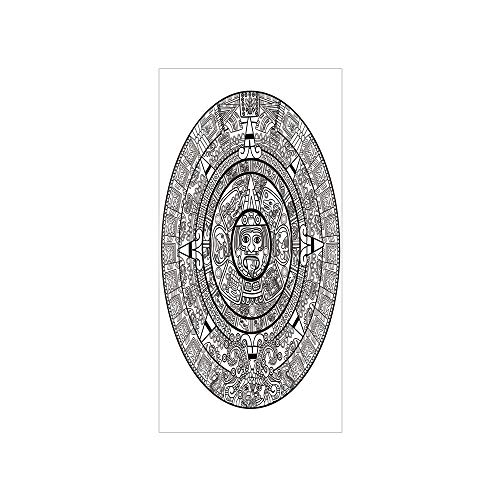 (Ylljy00 Decorative Privacy Window Film/Maya Calendar Illustration Accurate Antiquities Astrological Aztec Geometric Indigenous/No-Glue Self Static Cling for Home Bedroom Bathroom Kitchen Office Decor)