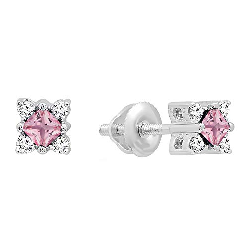 - Dazzlingrock Collection 14K Princess Pink Sapphire & Round White Diamond Ladies Square Shape Stud Earrings, White Gold
