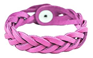 Genuine Leather Essential Oil Diffuser Bracelet (Small/Kids, Pink)