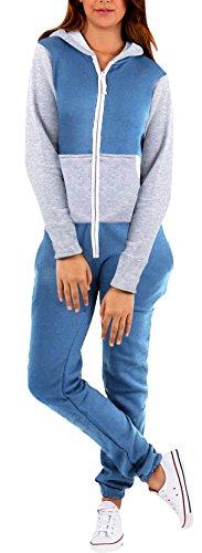 SkylineWears Women's Ladies Onesie Hoodie Jumpsuit Playsuit Blue Gray L