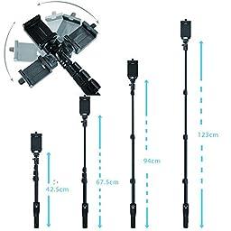 Fugetek FT-568 Professional High End Alloy Selfie Stick, Bluetooth Remote For Apple, Android, & DLSR Cameras (Black)