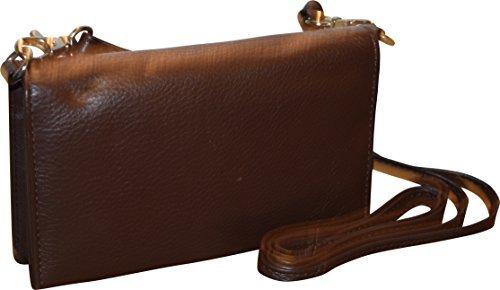 Pielino Women's Genuine Leather Smart Phone Crossbody Wallet With Shoulder Strap (Brown) by Pielino (Image #1)